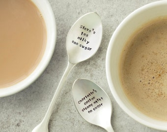 Personalised Silver Plated Teaspoon Set, spoons, engraved, hand stamped, spoon set, wedding cutlery, silverware
