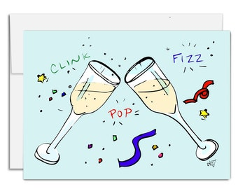 Champagne Toast card, Holiday card, all occasion card, new years card