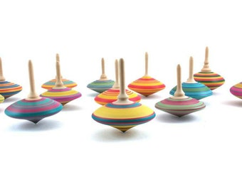 Wooden spinning tops x 3, Woodturning, Coloured Tops, Classic turned wooden tops, Party favors bags