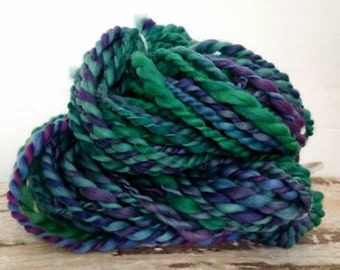 Lavender Fields - green and purple shades in this cool, chunky handspun yarn.  Thick and thin two-ply bulky yarn for knit, weave, crochet wo