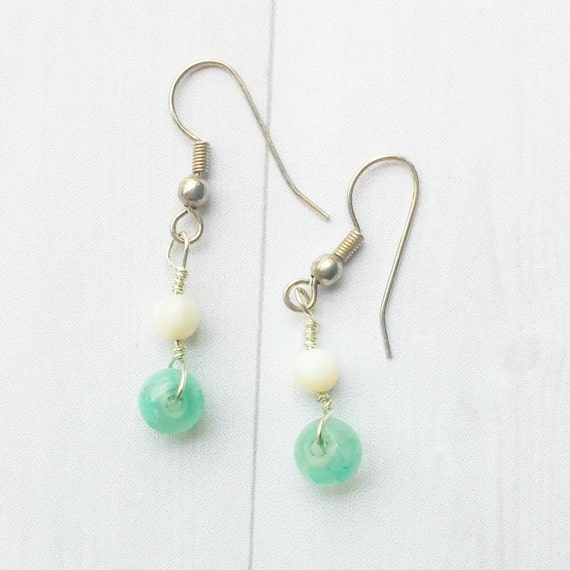 Aquamarine earrings- Green earrings- dew drop- silver jewelry-  small dangle earrings- silver earrings- simple drop earrings- minimalistic