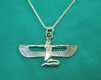 "Beautiful Egyptian Sterling Silver Pendant Necklace Chain ""Queen Isis Wings,Isis necklace, winged Isis"