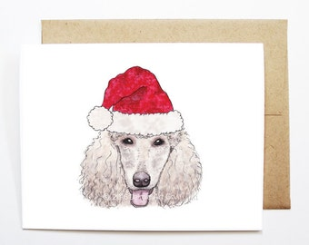Christmas Card - Poodle, Dog Christmas Card, Cute Christmas Card, Holiday Card, Xmas Card, Seasonal Card, Christmas Card Set