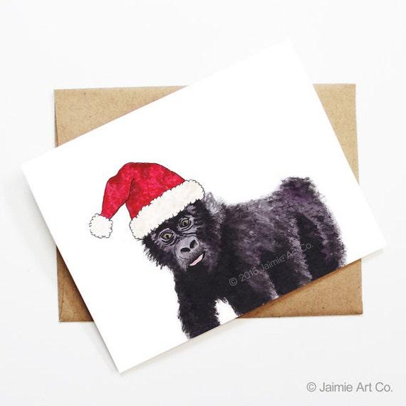 Christmas Card Gorilla Cute Animal