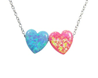 Heart necklace Two hearts necklace Blue and Pink Opal Double Heart Necklace