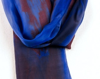 Cobalt blue silk scarf paint by hand. Hand painted silk scarf.Floral silk scarf. Dark blue, brick and brown scarf.Painting on silk by Dimo