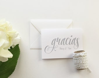 Gracias Wedding Thank You Cards (set of 10) - Personalized thank you cards - Gracias thank you cards - modern calligraphy cards