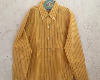 60's 70's Boys Striped Button Down Shirt NOS New Old Stock Size 12-14