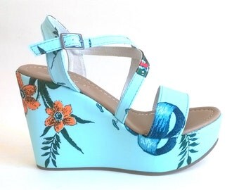Floral print leather wedge SANDALS diddly