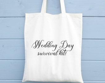 Wedding Day Survival Kit Bag, Wedding Gift, Tote Bag, Canvas Tote Bag, Cotton Tote Bag, Tote Shopper, Bridesmaid Gift Bag, Shopping Bag