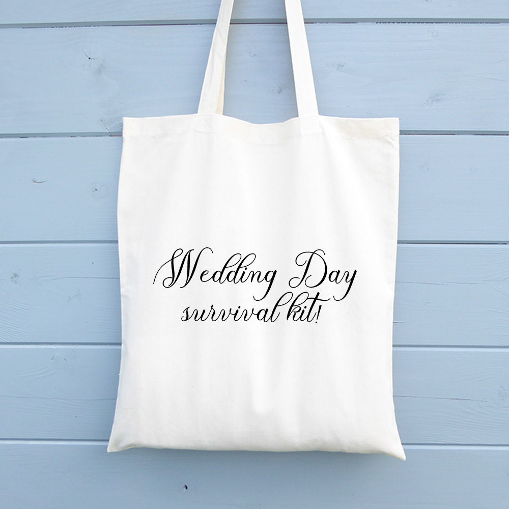 Wedding Day Survival Kit Bag Wedding Gift Tote Bag Canvas Tote
