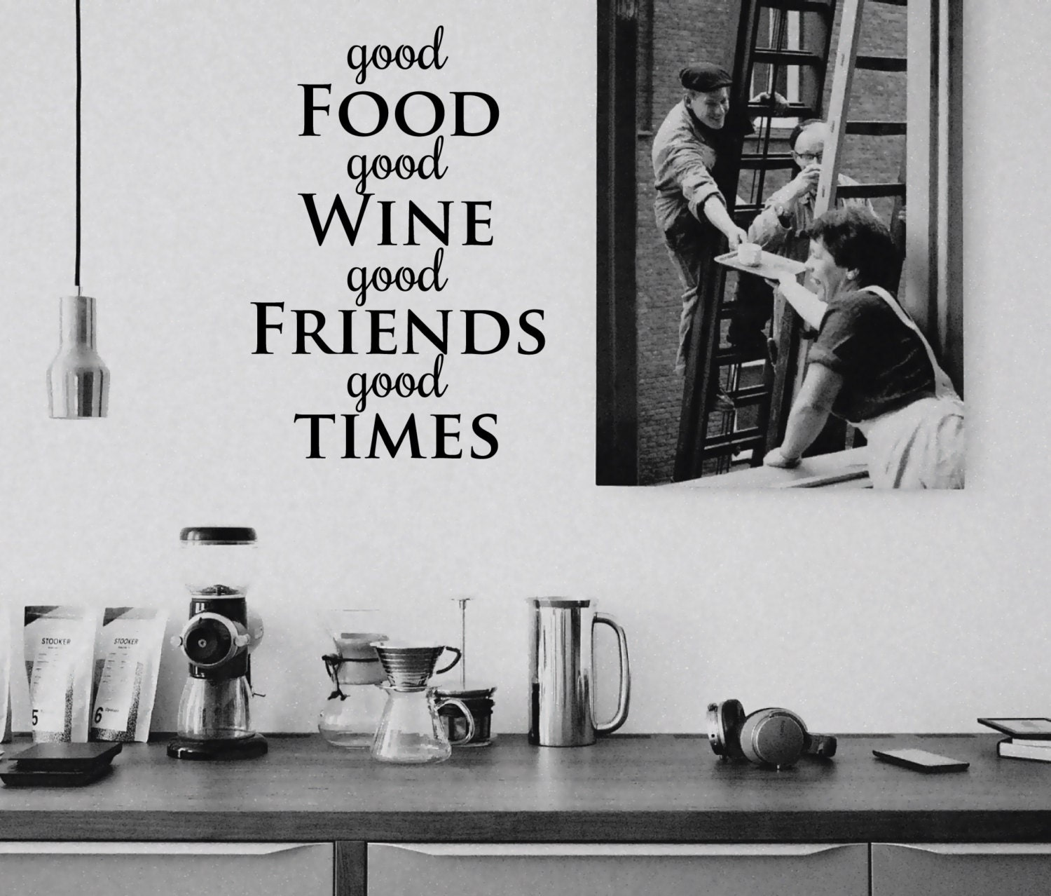Wall sticker good food wine friends times decal quote zoom amipublicfo Images