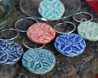 Wine Glass Charms - Wine Charms - Set of 6 Handmade Stoneware Wine Glass Charms