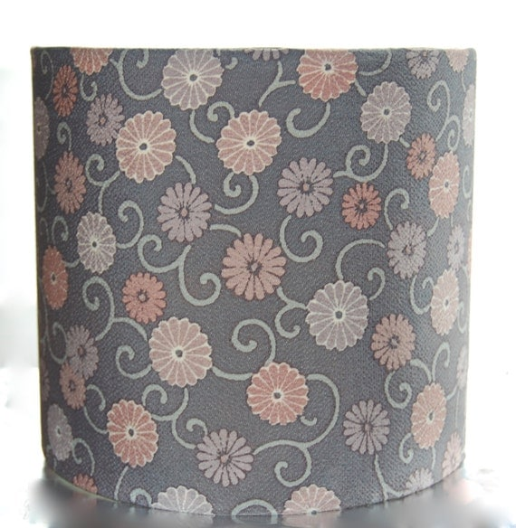 Blue Silk Lampshade, 20cm (8 inch) Drum Lamp Shade Covered with Vintage Kimono Silk