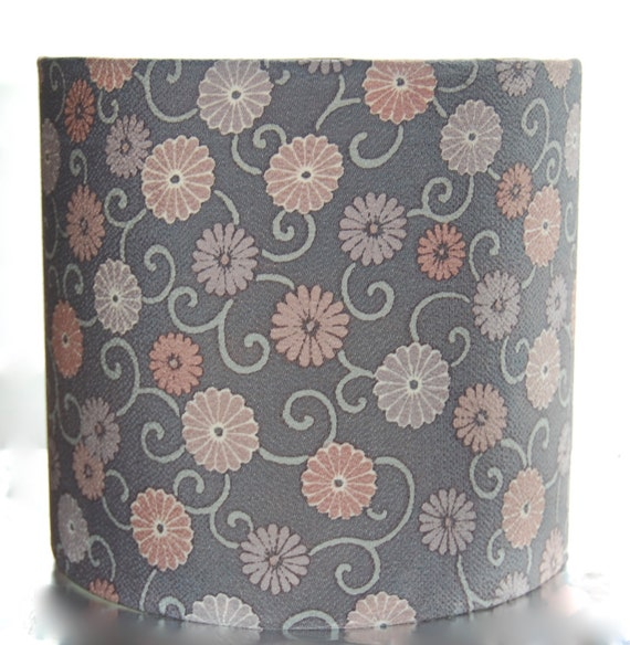 Blue Floral Silk Lampshade, 20cm (8 inch) Drum Lamp Shade Covered with Vintage Kimono Silk