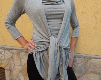 elastic shirt with long sleeves / Top / Tunic Vest/Casual Top