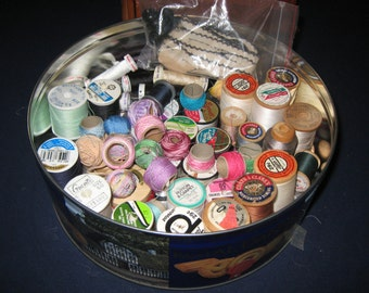 Thread/Vintage Spools of Thread/Thread Sewing Lot/Craft Supplies/Wooden Spool/Sewing Supplies/Vintage Thread