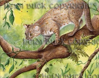 Rusty Spotted Cat Greetings Card