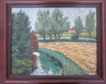 Vintage GORLESTON Norfolk Countryside/River/Rural OIL Painting FRAMED!