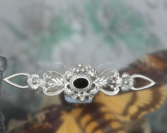 Vintage Solid sterling Silver Floral Onyx Brooch