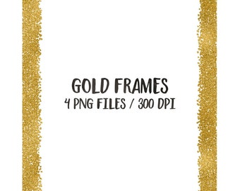 buy 3 for 8 usd gold digital frames clip art glitter frames cliparts frame clip art golden hand painted 8x10 download