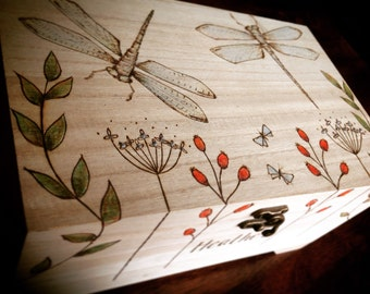Wooden box, drangonflies, pyrography trinket box, personalised gift, memorial box, extra large jewellery box, anniversary gift