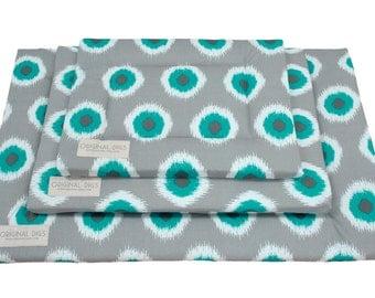 Fancy Pet Pad | Crate Mat | Crate Pad | Water Resistant Bottom | Portable Dog Bed | Pacific Blue Ikat Print Mat | Small/Medium/Large/XL