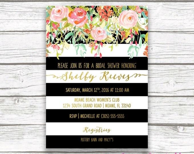 Spring Gold Foil Bridal Shower Invitation, Floral Black & White Stripe Bridal Shower Invite, Pink Mint Coral Bridal Shower Flower, Printable