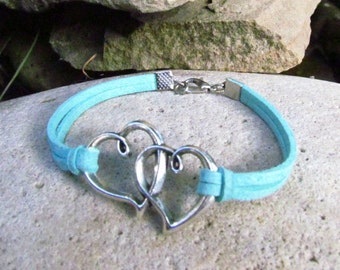 friendship bracelet heart bracelet heart jewelry love bracelet suede leather bracelet boho bracelet mint bracelet Womens bracelet