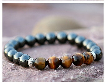Gift For Him Mens Gift Bracelet for men Tiger eye bracelet Men Jewelry Boho Hematite Bracelet Mens Bracelet Beaded Bracelet Gemstone Jewelry