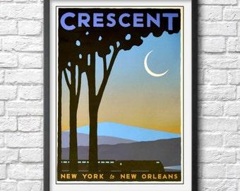 Vintage Travel Poster Crescent Train New York New Orleans art Print crescent moon wall art railway antique train travel art