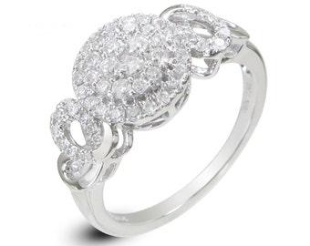 Cluster Diamond 18k White Gold Ring