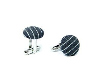 Fabric covered cufflinks, Grey/white stripe silver cuff links