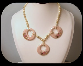 """Vintage 3 Painted Flower on Pink Porcelain Circles Hanging on Faux Pearl Necklace 19"""""""