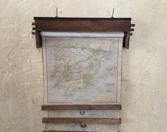 Miniature Maps, Miniature Map Set, Miniature Schoolhouse Maps, Dollhouse Maps, Miniature Map