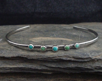 Turquoises and Sterling silver cuff bracelet, antique silver (oxydized). 7 inches. Organic jewelry, rustic, primitive.