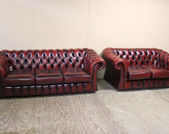 Antique English Three Seat Chesterfield Leather Sofa and Loveseat in Oxblood Color #6396