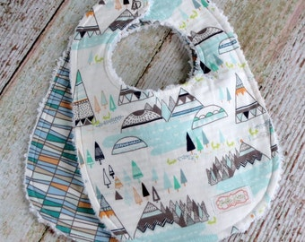 Baby Bibs - Baby Boy Bibs - Indian Summer Bib Set - Tribal Boy Bibs - Native Boy Bibs - Woodland Boy Bibs - Chenille Bibs - Baby Shower Gift