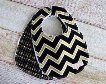 Baby Bibs - Baby Boy Bibs - Baby Girl Bibs - Black Gold Bibs - Tribal Bib - Black Gold Arrow Bib - Black Gold Chevron Bib - Baby Shower Gift
