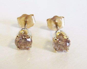 14k Yellow Gold Champagne Diamond Stud Earrings Approx. 0.50ctw Vintage Estate