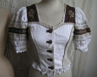 Alpine Tyrolean Austrian Dirndl folklore blouse! Vintage Siebenstein Sexy great details lace embroidery size 34/XS UK6 US4