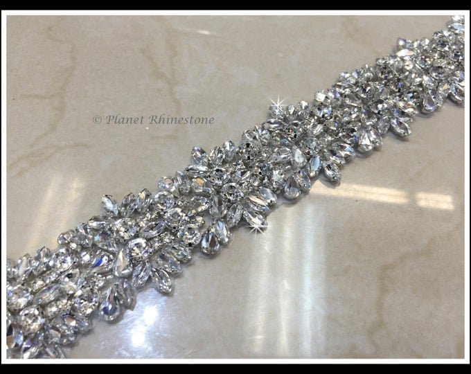 1 Yard Hot Fix Beaded Rhinestone Bridal Trim (Rhinestone Belt/Swarovski Shine) #0406