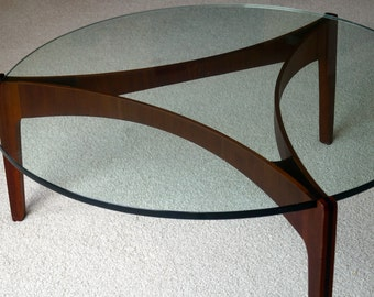 Mid Century Danish Modern coffee table with two stools