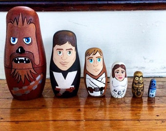 Star Wars Nesting Dolls - Original Star Wars - Matryoshka - Nesting Dolls - Star Wars - Hans Solo - Princess Leia - Unique Gifts - Wood