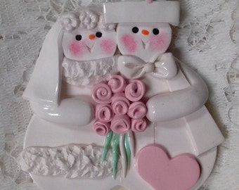 Polymer Clay Snowmen Wedding Couple with pink rose bouquet personalized Ornament!