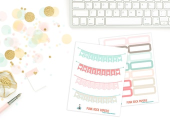 Pink & Mint Geo Collection - Weekend Bunting and Blank Rectangle Stickers for Erin Condren Life Planners