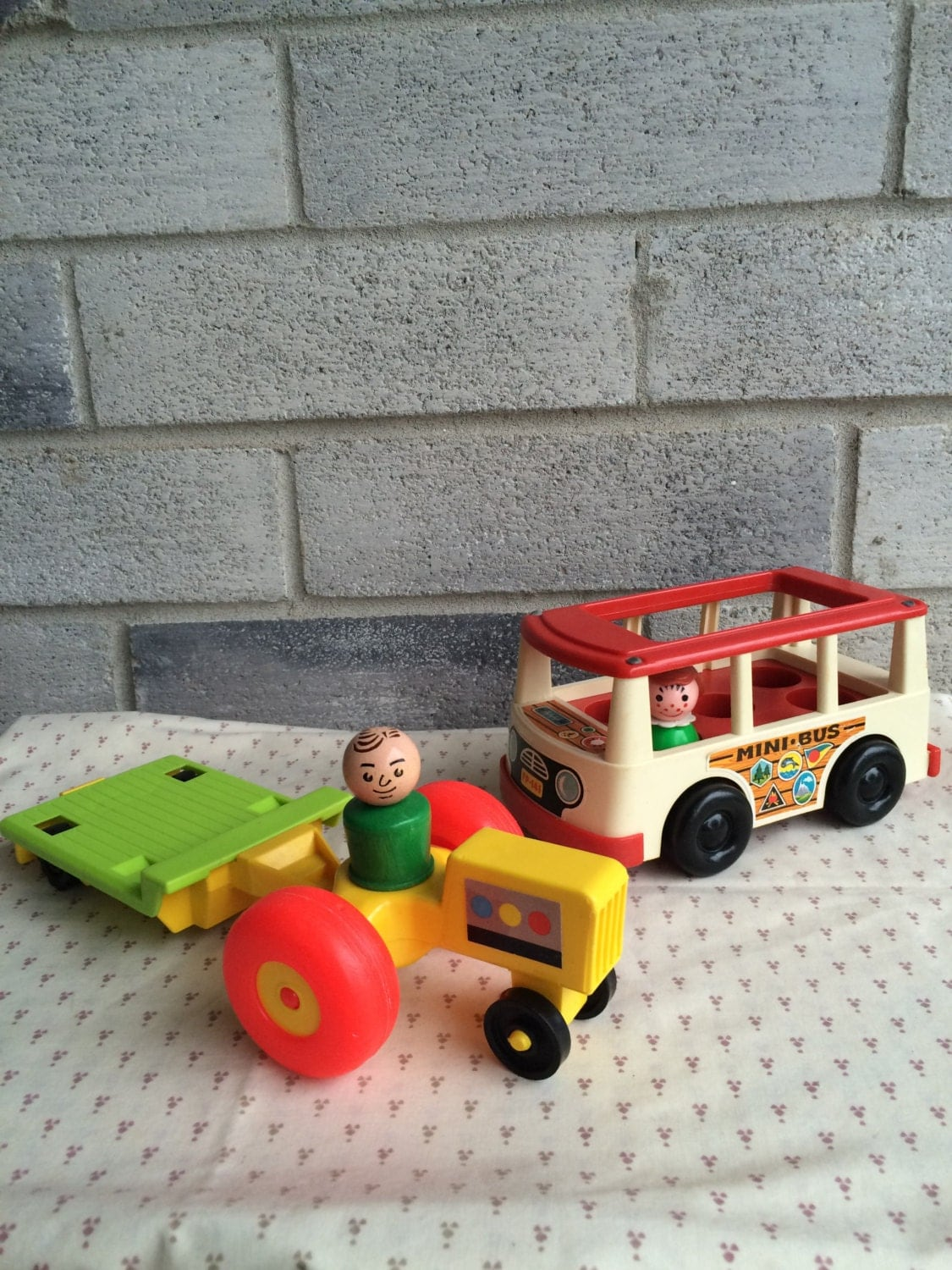 1970s Little People Fisher Price Tractor Little People Furniture Little People Bus Little
