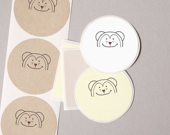 """goody bag stuffers MONKEY label stickers contemporary cute modern minimalist 20 medium 2"""" birthday party favors gifts for kids bag seals"""