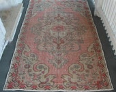 US SELLER - 4'2x6'9 Turkish vintage rug blush rose pink rust distressed OOAK retro antique worn authentic imported 100% wool pile 4x7 7x4