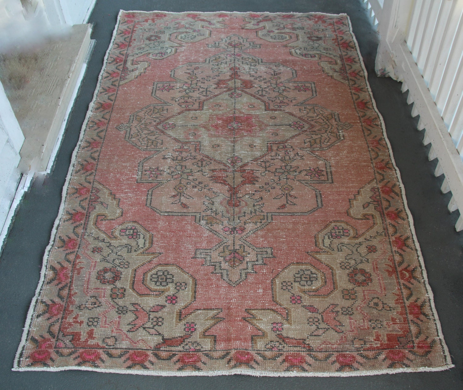 Us Seller 4 2x6 9 Turkish Vintage Rug Blush Rose
